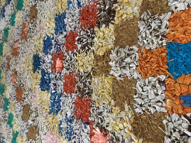 Late 20th Century Vintage Colourful Moroccan Boucherouite Rug For Sale