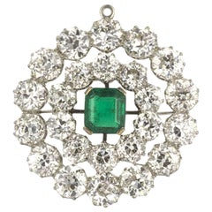 Vintage Columbian Emerald and Diamond Brooch/Pendant 12.40 Carat Diamonds