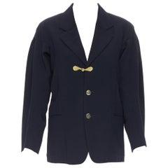 vintage COMME DES GARCONS 1988 Runway oriental button drape sleeve blazer S