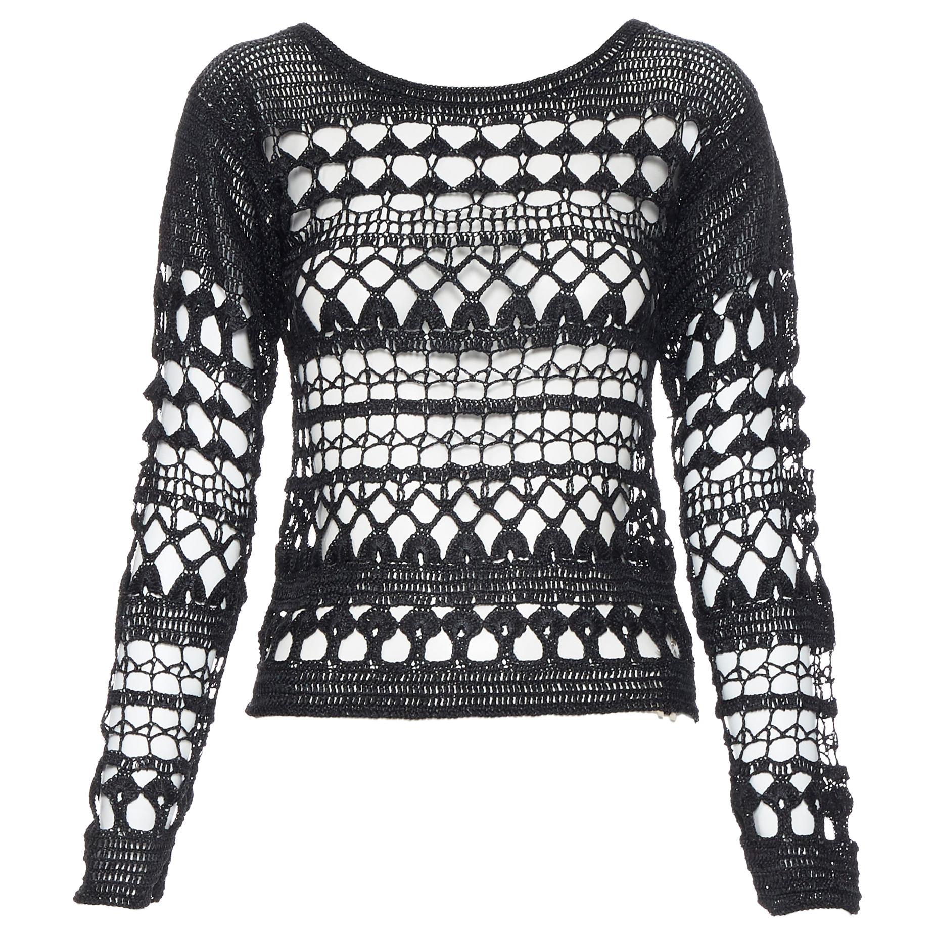 vintage COMME DES GARCONS 1989 black acrylic holey crochet open knit sweater S