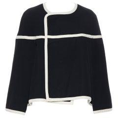 vintage COMME DES GARCONS 1989 Runway black white trimmed cape poncho jacket M