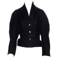 vintage COMME DES GARCONS 1990 black velvet cut out rounded sleeve jacket M