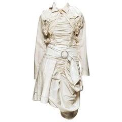 vintage COMME DES GARCONS 2005 beige cotton bow bustle bow raw cut skirt S