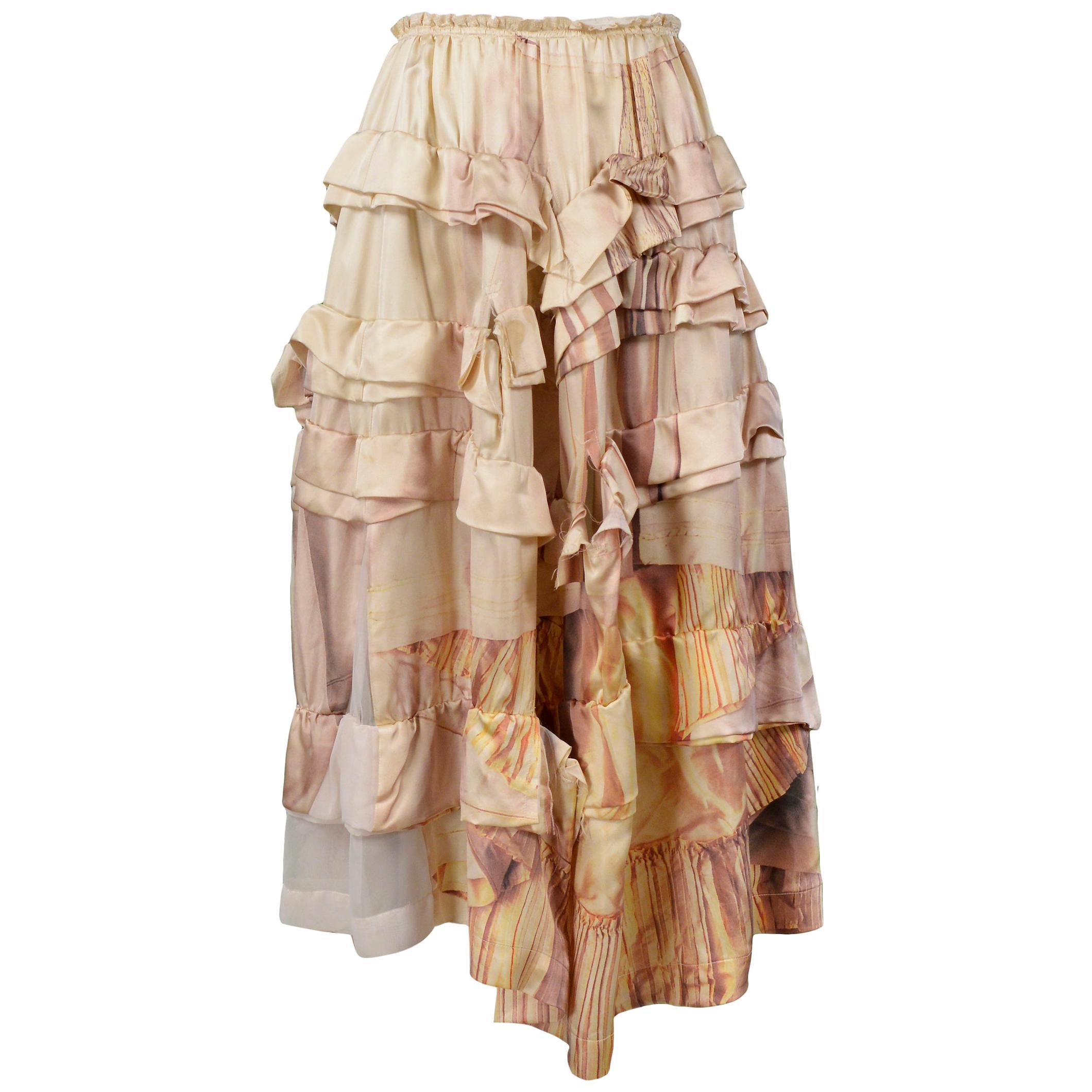 Vintage Comme des Garcons Broken Bride Ivory Tiered Skirt 2005
