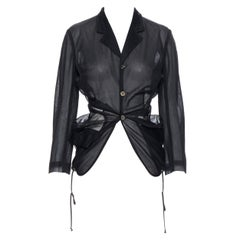 vintage COMME DES GARCONS Runway black sheer bundle drawstring blazer jacket S