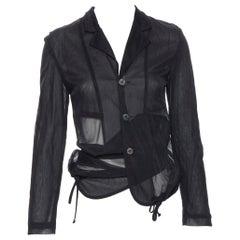vintage COMME DES GARCONS Runway sheer parachute drawstring hem blazer jacket S
