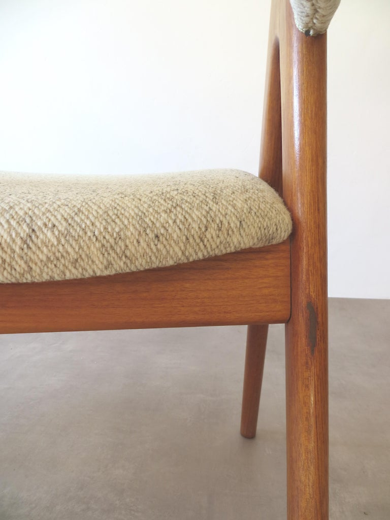 Vintage Compass Chairs by Kai Kristiansen in Solid Teak and Wool, Denmark, 1950s 15