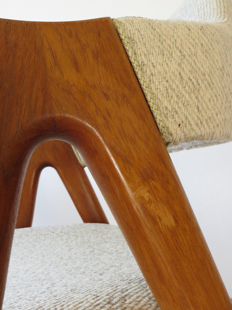 Vintage Compass Chairs by Kai Kristiansen in Solid Teak and Wool, Denmark, 1950s 17