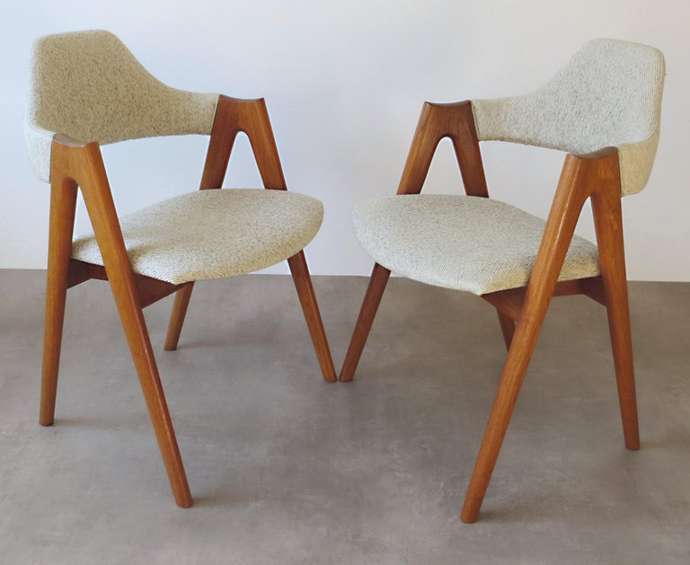 Vintage Compass Chairs by Kai Kristiansen in Solid Teak and Wool, Denmark, 1950s 2