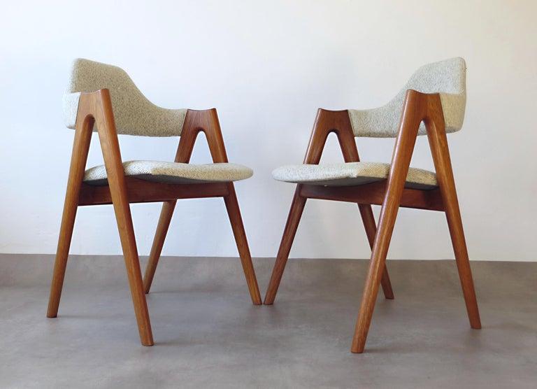 Vintage Compass Chairs by Kai Kristiansen in Solid Teak and Wool, Denmark, 1950s 3