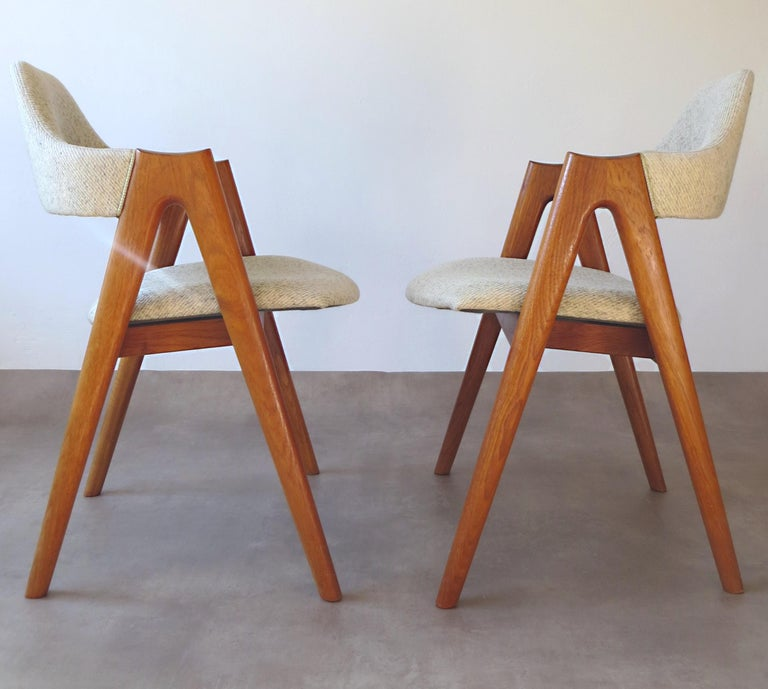 Vintage Compass Chairs by Kai Kristiansen in Solid Teak and Wool, Denmark, 1950s 4