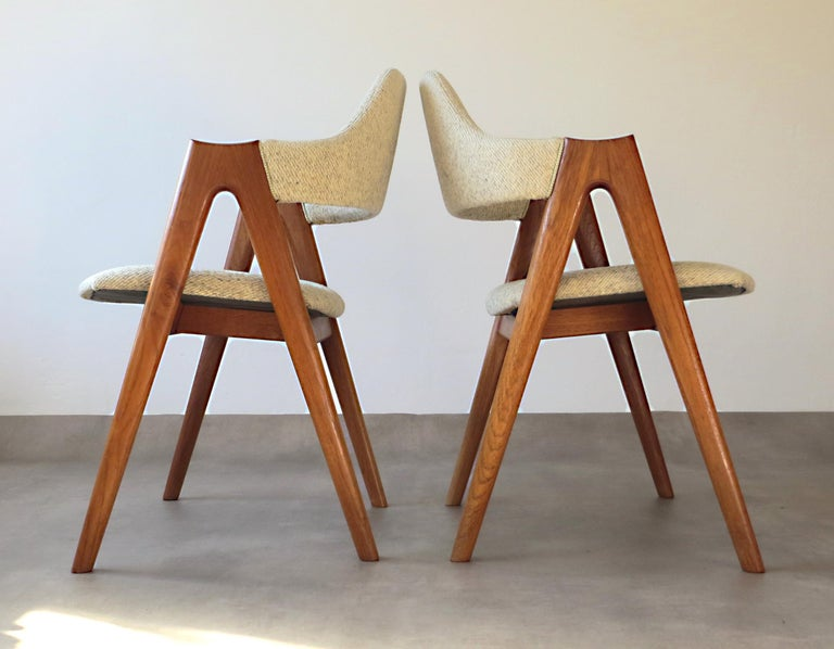 Vintage Compass Chairs by Kai Kristiansen in Solid Teak and Wool, Denmark, 1950s 5