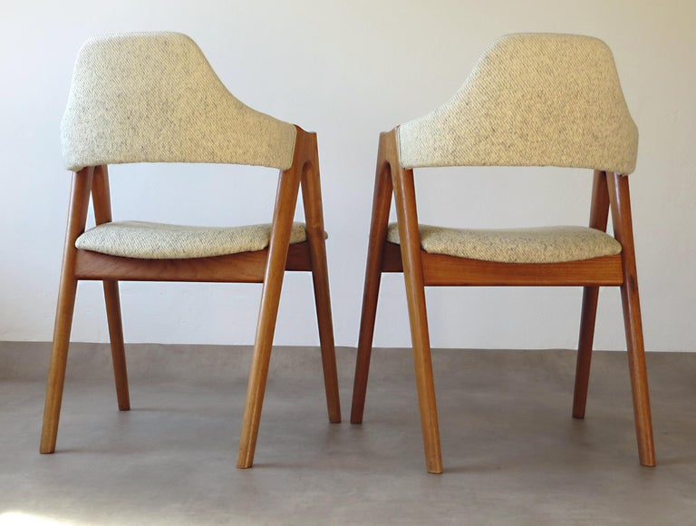 Vintage Compass Chairs by Kai Kristiansen in Solid Teak and Wool, Denmark, 1950s 7