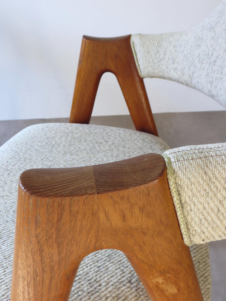 Vintage Compass Chairs by Kai Kristiansen in Solid Teak and Wool, Denmark, 1950s 8