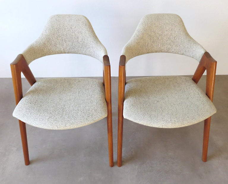 Vintage Compass Chairs by Kai Kristiansen in Solid Teak and Wool, Denmark, 1950s 9