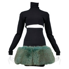 Vintage Complice Black Knit & Green Mink Ensemble 1991