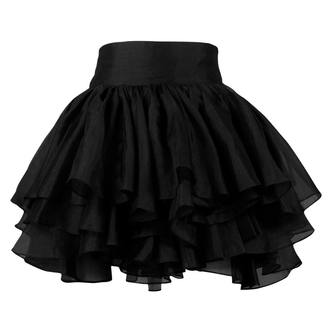 Vintage Complice Black Organza Three Tier Mini Skirt 1991