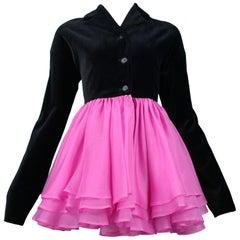 Vintage Complice Black Velvet Pink Pouf Evening Jacket 1991