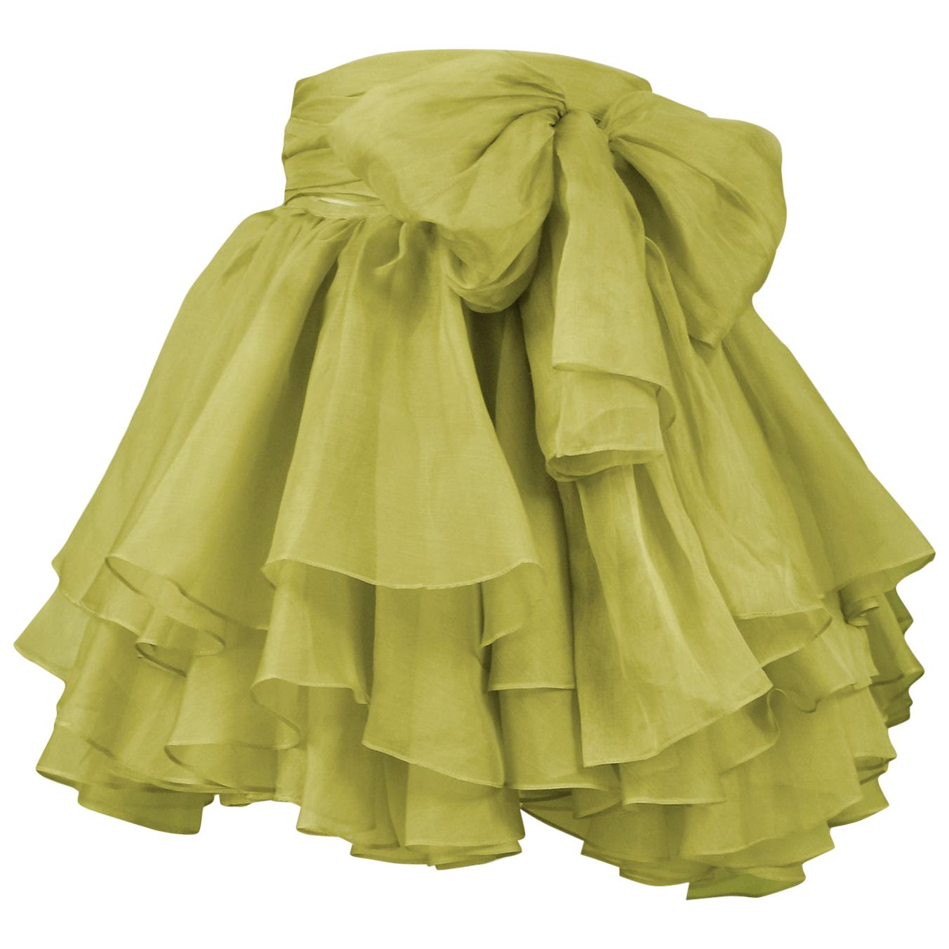Vintage Complice Green Pouf Tie Skirt 1991