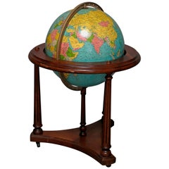 Vintage Comprehensive World Globe on Mahogany Floor Stand by Replogle