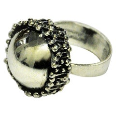 Vintage Concave Silverring with Texture by Erik Granit, Finland, 1971