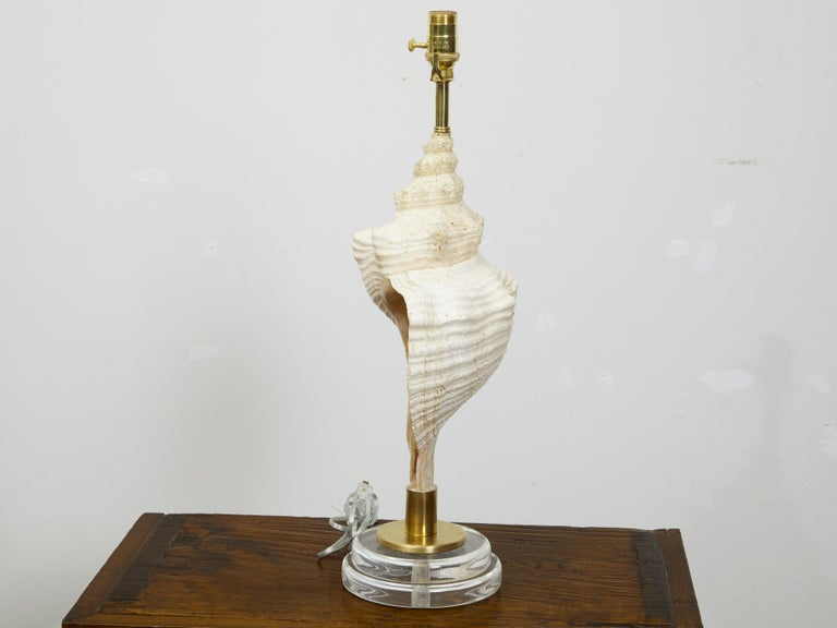 Mid-Century Modern Vintage Conch Shell Table Lamp from the Midcentury Mounted on Round Lucite Base For Sale