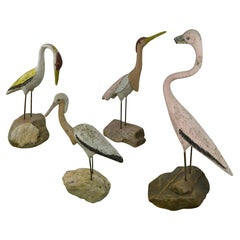 Vintage Concrete Bird Sculptures, 4 pieces of Garden Birds, France