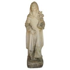 Vintage Concrete Saint Fiarcre Garden Statue, Patron Saint of Gardeners