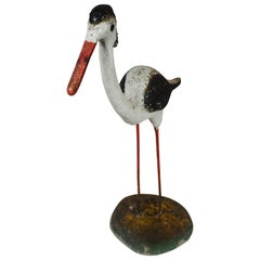 Vintage Concrete Shore Bird on Stand