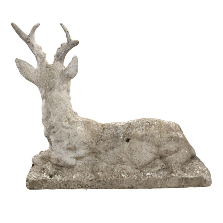 French Vintage Concrete Stag Sculpture For Sale