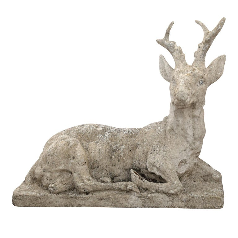 Hand-Crafted Vintage Concrete Stag Sculpture For Sale