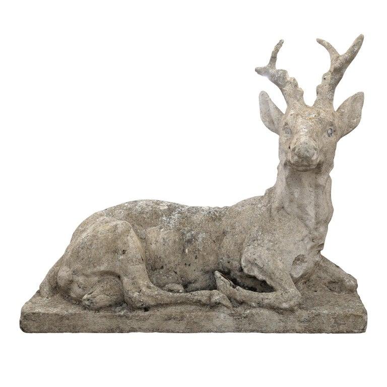 Vintage Concrete Stag Sculpture For Sale