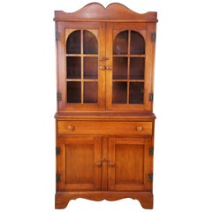 Vintage Consider H Willett American Country Cherry Cupboard Bookcase China Hutch