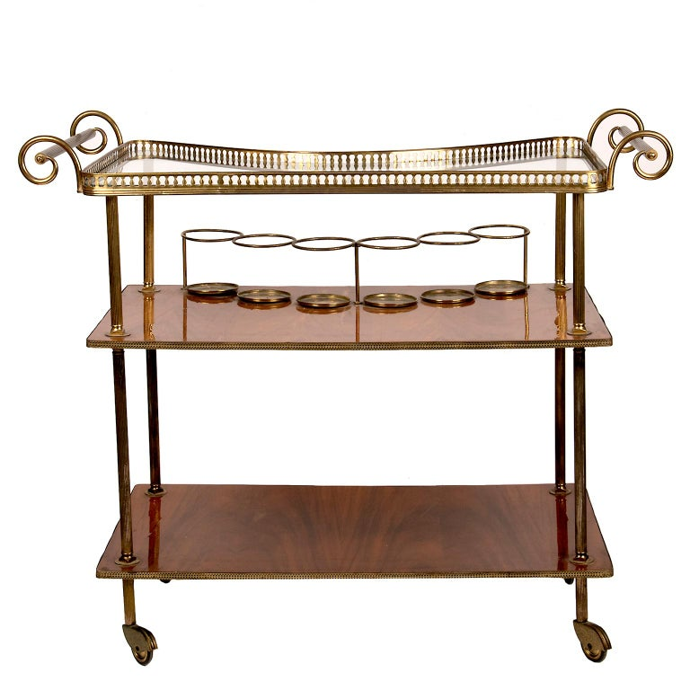 Vintage Continental Brass and Wood Bar Cart For Sale 5