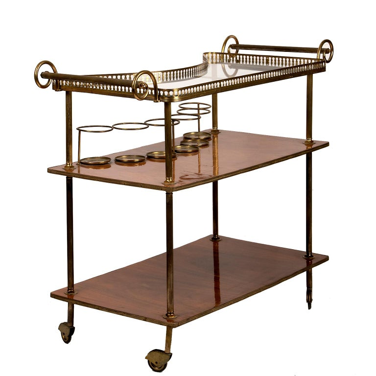 French Vintage Continental Brass and Wood Bar Cart For Sale