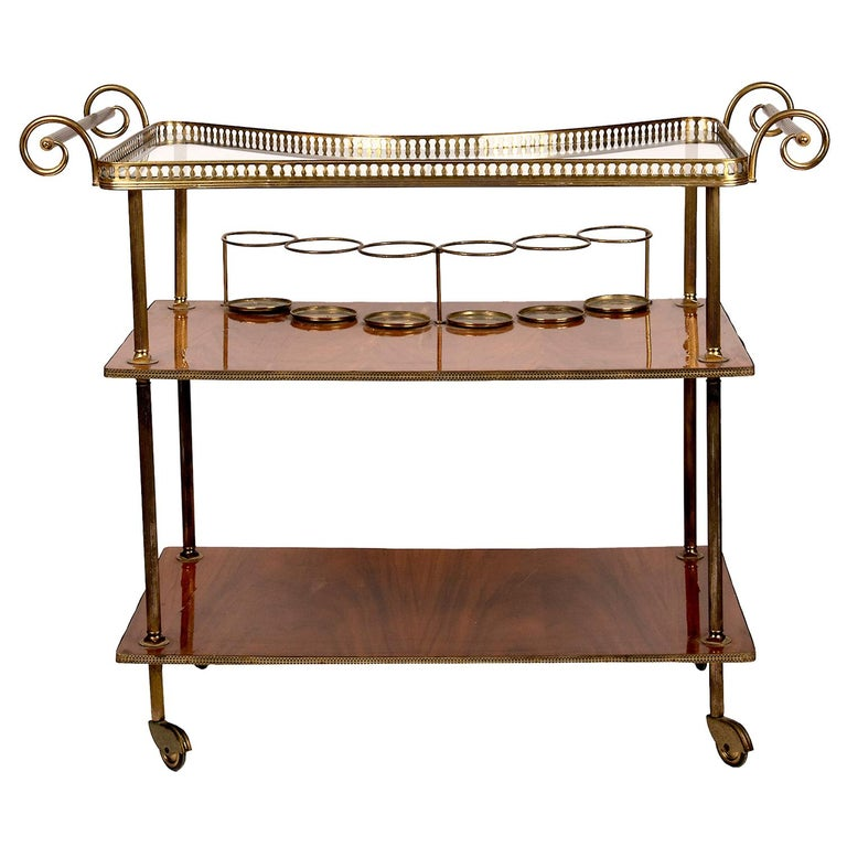 Vintage Continental Brass and Wood Bar Cart For Sale