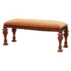 Vintage Continental Carved Mahogany Upholstered Long Bench, 20th Century