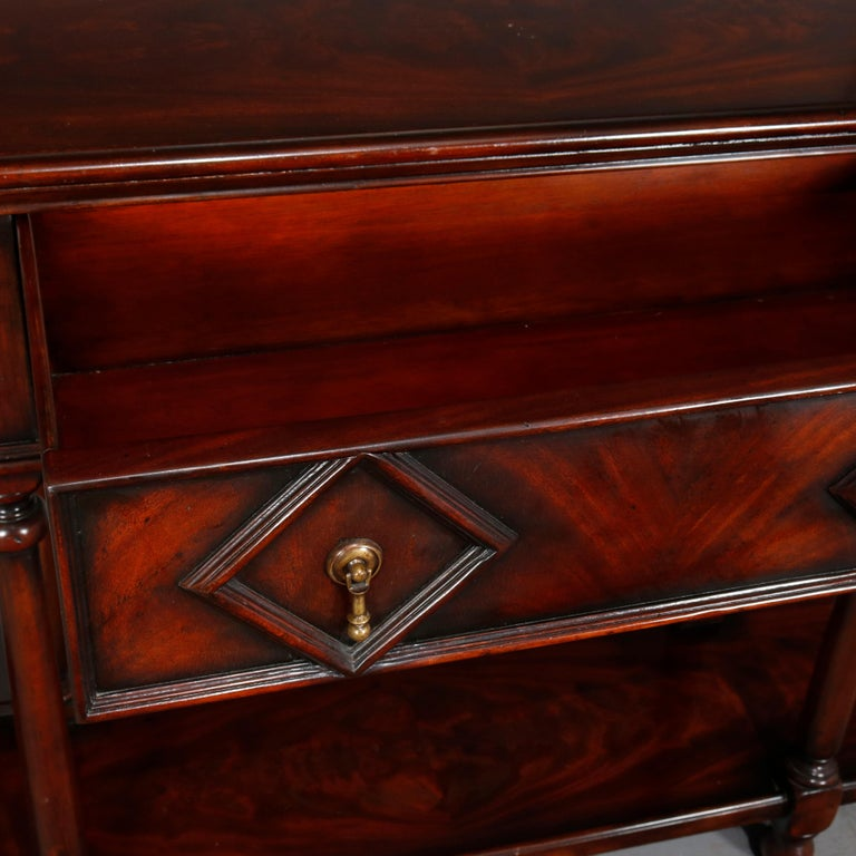 Vintage Continental Flame Mahogany Three-Drawer Silver Server, circa 1940 For Sale 6