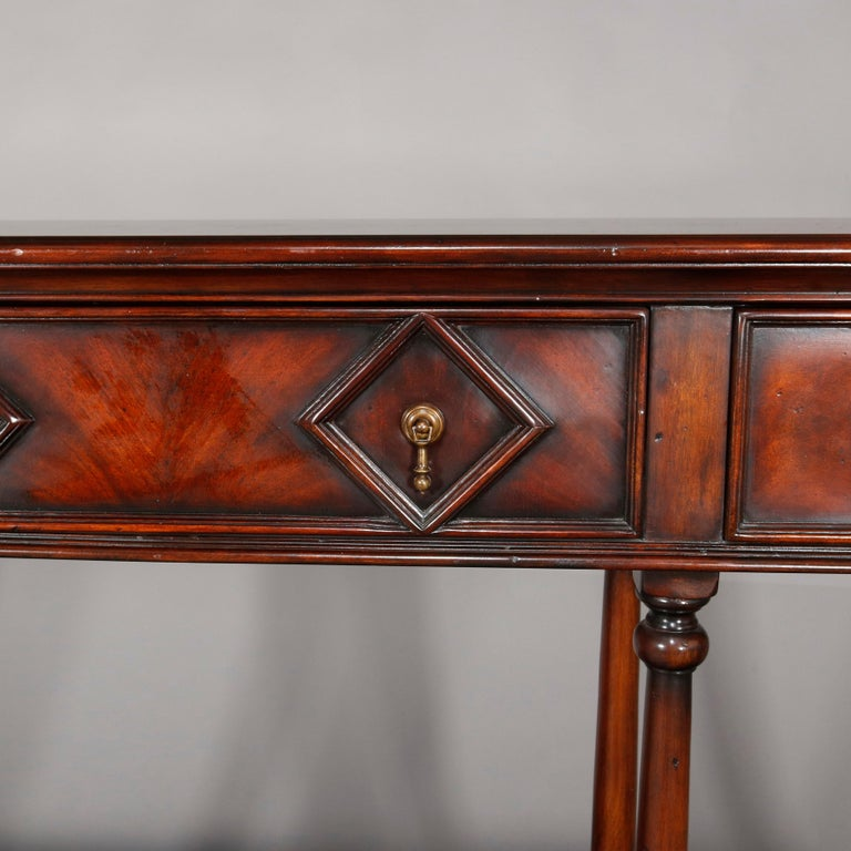European Vintage Continental Flame Mahogany Three-Drawer Silver Server, circa 1940 For Sale