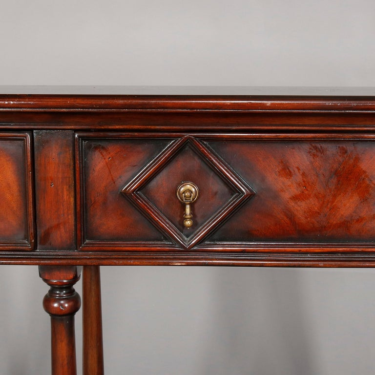 Vintage Continental Flame Mahogany Three-Drawer Silver Server, circa 1940 In Good Condition For Sale In Big Flats, NY