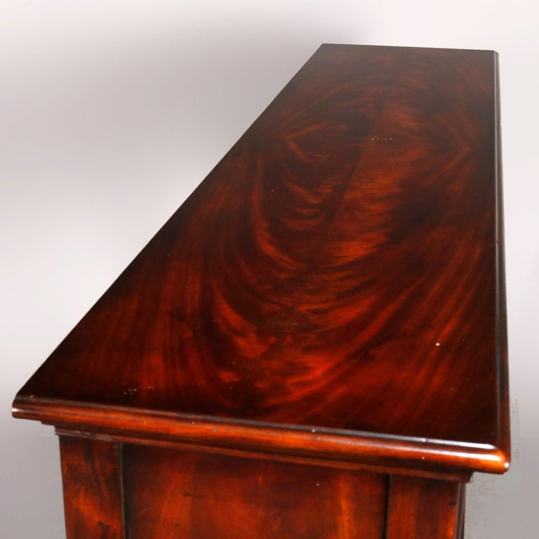 20th Century Vintage Continental Flame Mahogany Three-Drawer Silver Server, circa 1940 For Sale