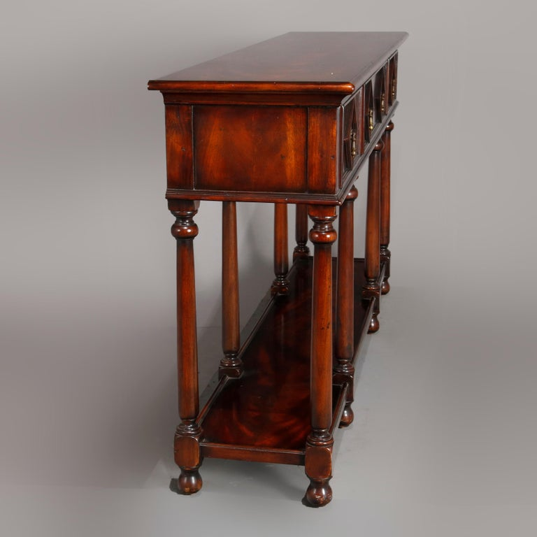 Vintage Continental Flame Mahogany Three-Drawer Silver Server, circa 1940 For Sale 1