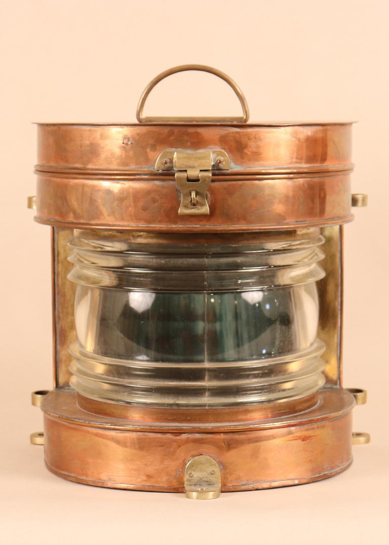 Hong Kong Vintage Copper and Brass Maritime Ship's Masthead Light For Sale