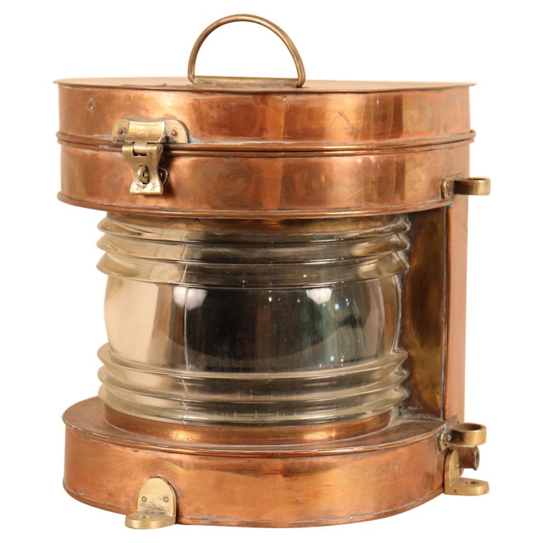 Vintage Copper and Brass Maritime Ship's Masthead Light For Sale