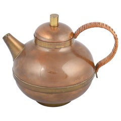 Vintage Copper and Brass Small Teapot by Harald Buchrucker, Germany, 1960s
