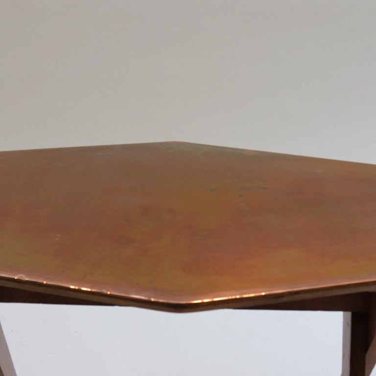 Vintage Copper and Oak Hexagonal Side Table, 1950s For Sale 3