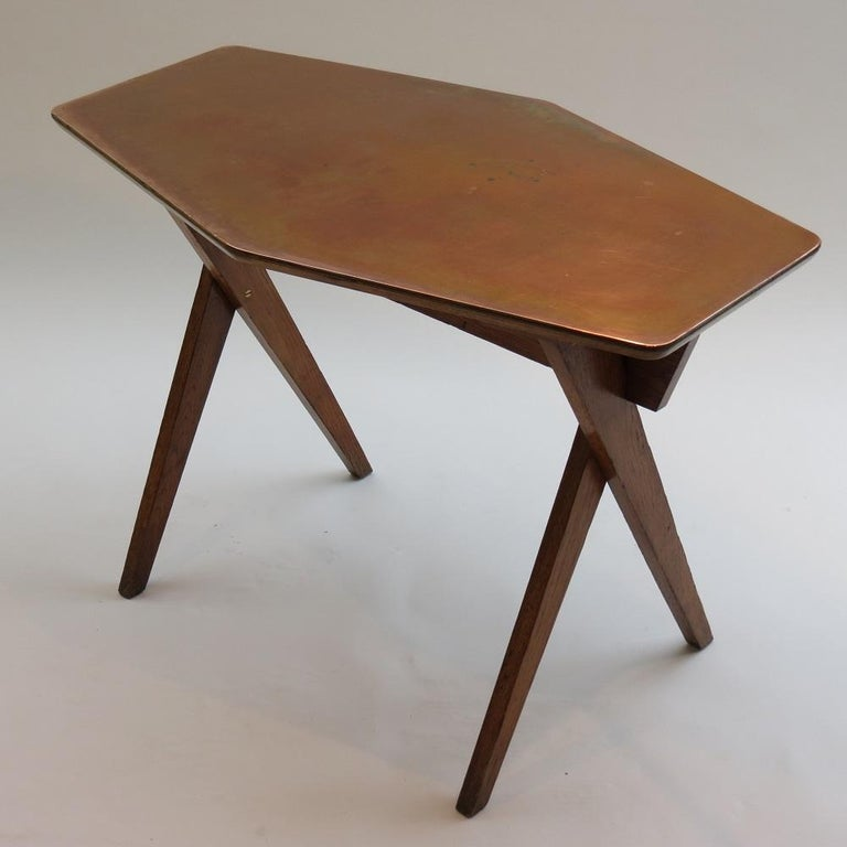 Vintage Copper and Oak Hexagonal Side Table, 1950s For Sale 4