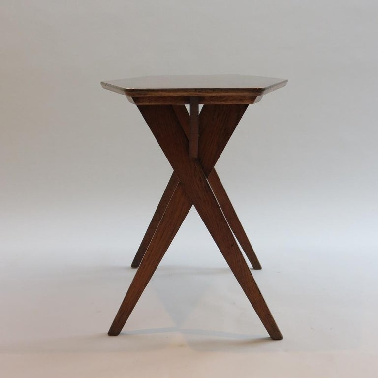 Mid-Century Modern Vintage Copper and Oak Hexagonal Side Table, 1950s For Sale