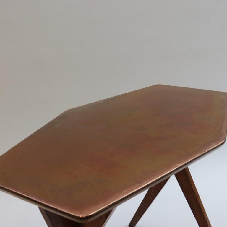 English Vintage Copper and Oak Hexagonal Side Table, 1950s For Sale