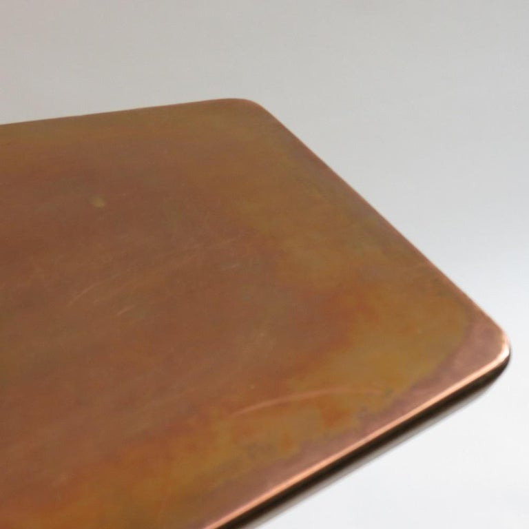 20th Century Vintage Copper and Oak Hexagonal Side Table, 1950s For Sale